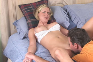 Hot Blonde Busty Wife Gets Eaten then Fucked from Naughty At Home